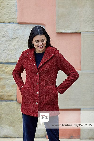 Mid-adult woman  Pasai Donibane  Pasaia  Gipuzkoa  Basque Country  Spain  Europe