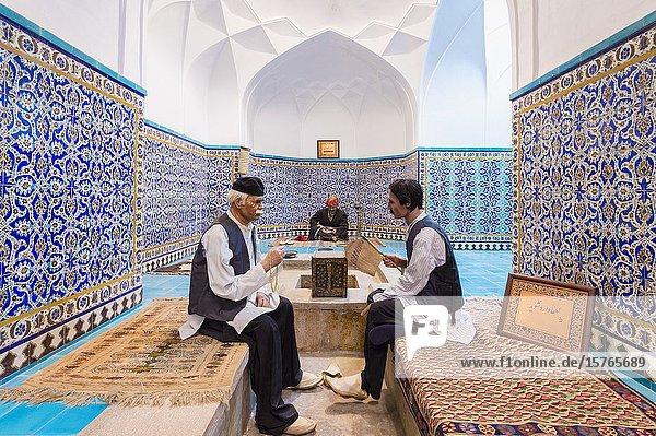 Meydan-e Gandj-e Ali Khan Square  Gandj-e Ali Khan Hammam converted into an ethnological museum with figures  Kerman  Kerman Province  Iran.