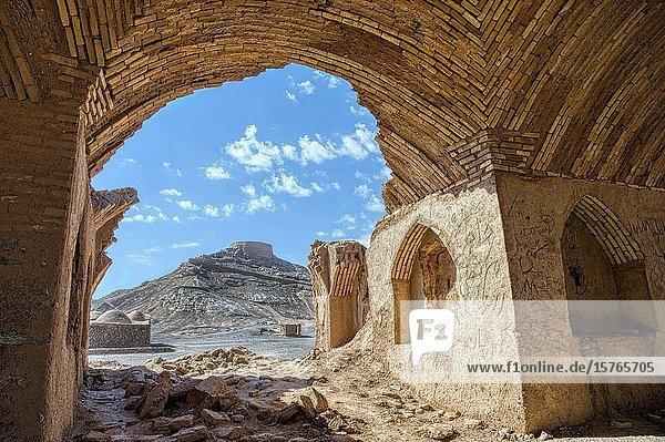 Ruins of ritual buildings near Dakhmeh Zoroastrian Tower of Silence  Yazd  Iran.