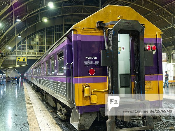 Second class passenger car at Hua Lamphong railway station  Bangkok  Thailand.
