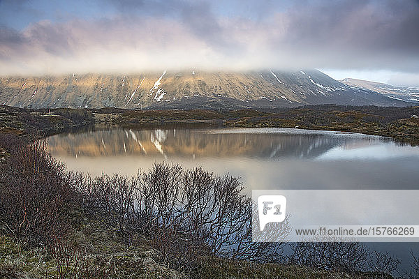 Tranquil view mountain and lake Bleik Andenes Vesteralen Norway