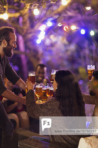 Friends drinking beer at garden party
