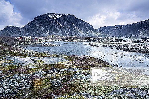 Tranquil scenic view mountains and inlet Landraget Lofoten Norway