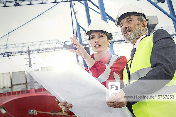 Dock worker and manager with blueprint talking at shipyard