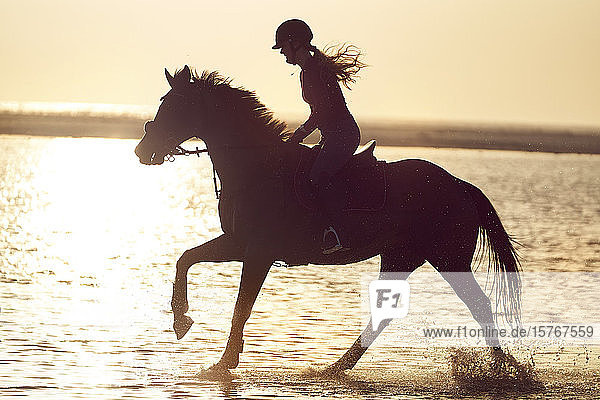 Young woman horseback riding in ocean surf at sunset