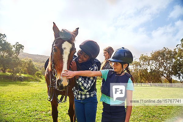 Happy girls petting horse in sunny rural paddock
