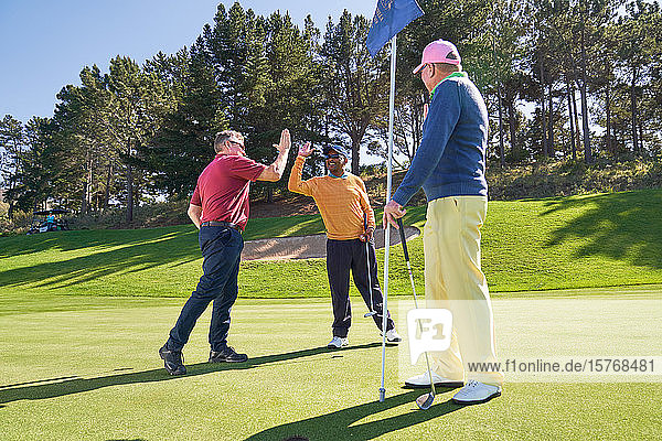 Male friends high fiving on sunny golf course putting green
