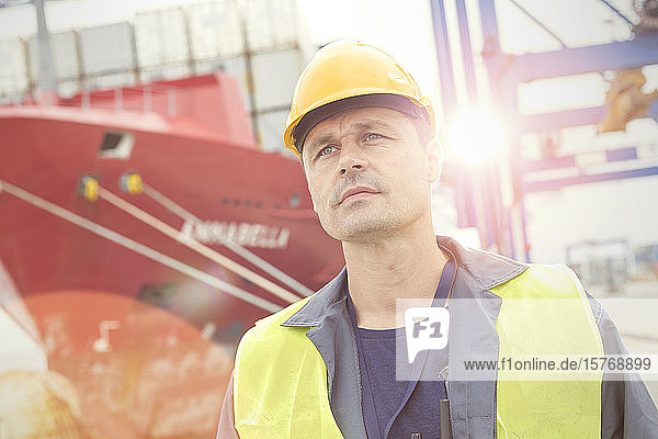 Serious dock worker below container ship at commercial dock
