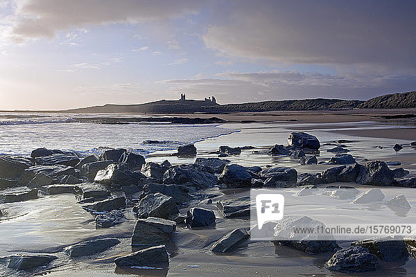 Emleton and Dunstanborough Castle in distance Northumberland UK
