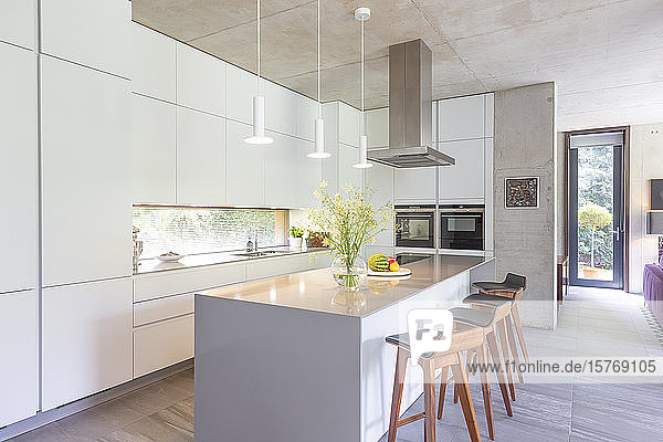 Modern white kitchen with kitchen island