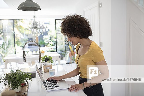 Young female entrepreneur working at laptop in kitchen