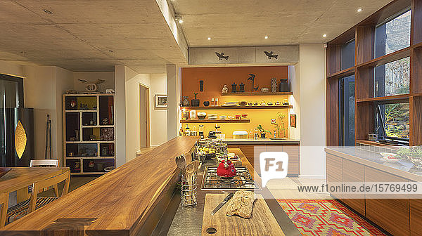Home showcase interior kitchen with wooden counter