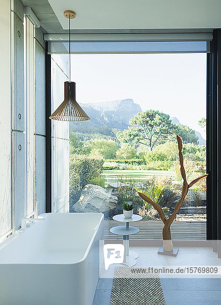 Modern  luxury bathroom with soaking tub and scenic view