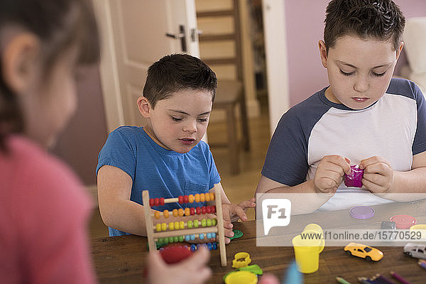 Boy with Down Syndrome and brother playing with toys at table