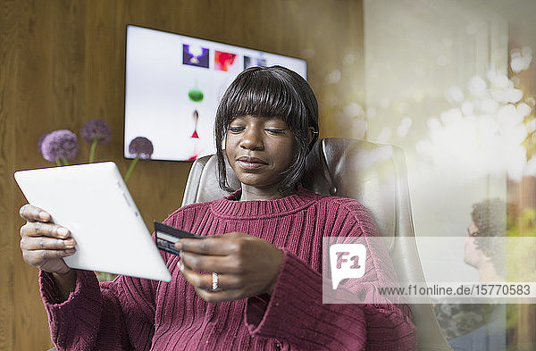 Young woman online shopping with credit card and digital tablet