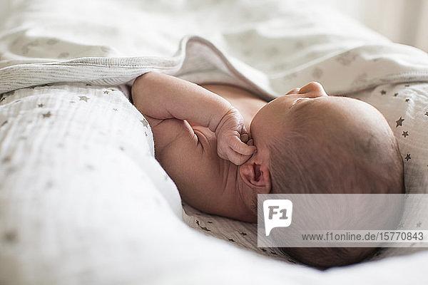 Close up newborn baby boy laying in bassinet