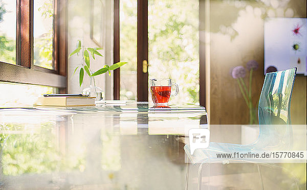 Tea on desk in tranquil home office