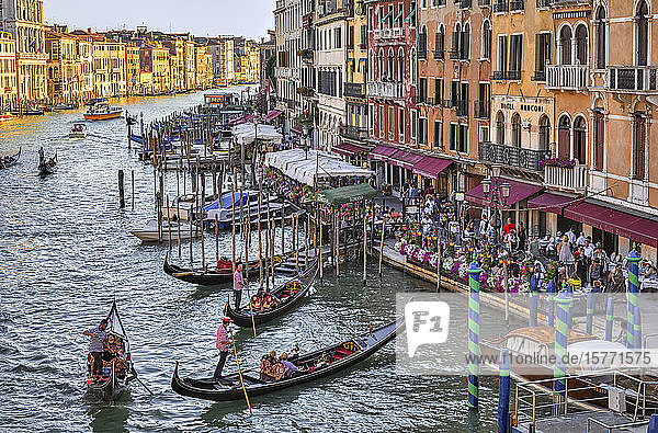 Gondolas and gondoliers in the Grand Canal with tourists along the colourful waterfront; Venice  Italy