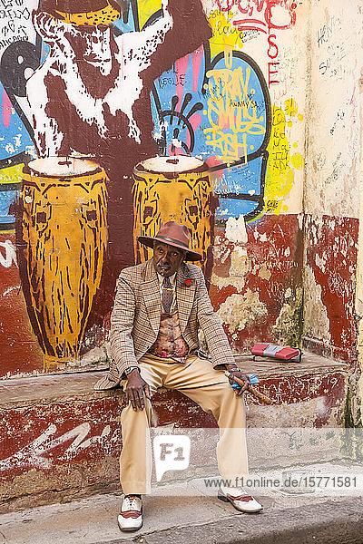 Cuban man with cigar  Old Town; Havana  Cuba