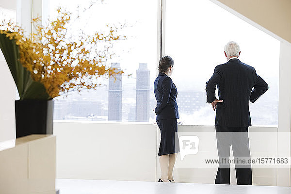 View of businesspeople standing near a window.