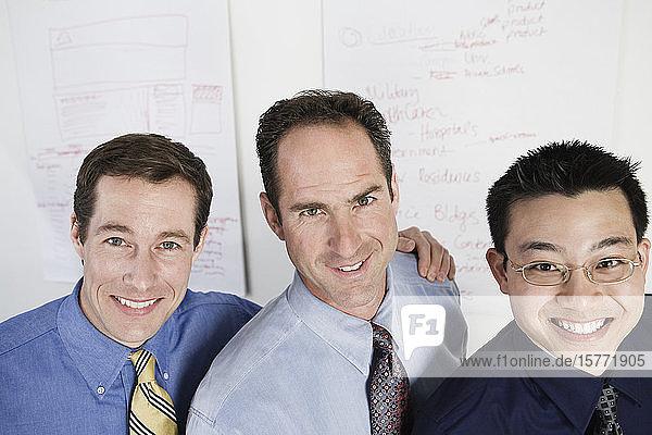 Portrait of mid adult men standing together.