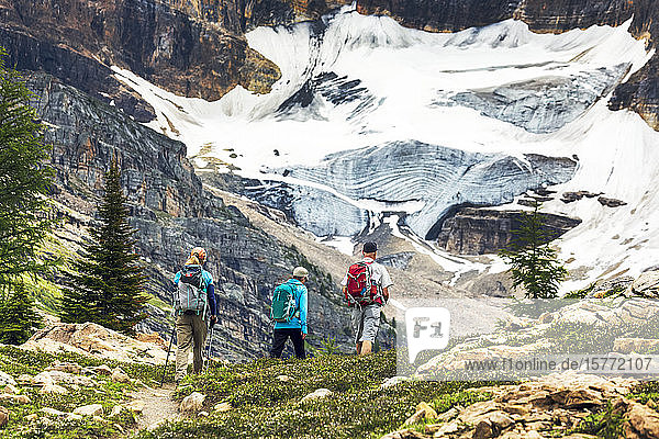 Hikers along a rmountain trail with a glacier on a mountain cliff in the background  Yoho National Park; Field  British Columbia  Canada
