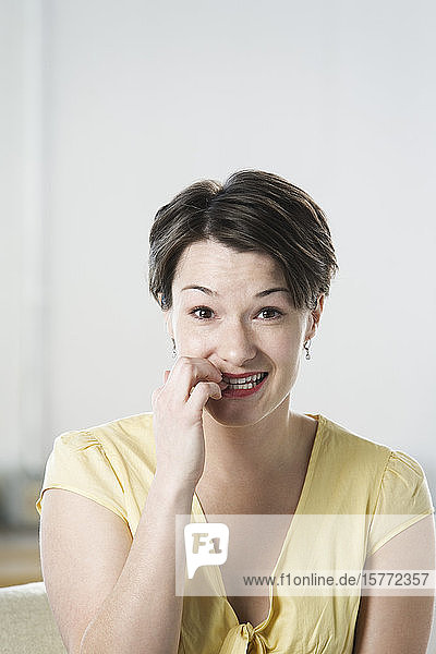 Portrait of mid adult woman smiling.