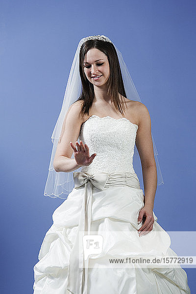 View of bride smiling.