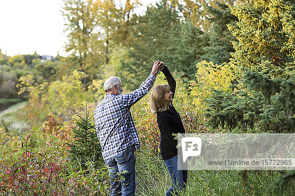 A mature couple enjoying quality time and dancing together while walking along a river in a city park on a warm fall evening; St. Albert  Alberta  Canada