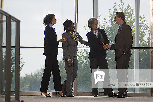 Team of business people standing and shaking hands