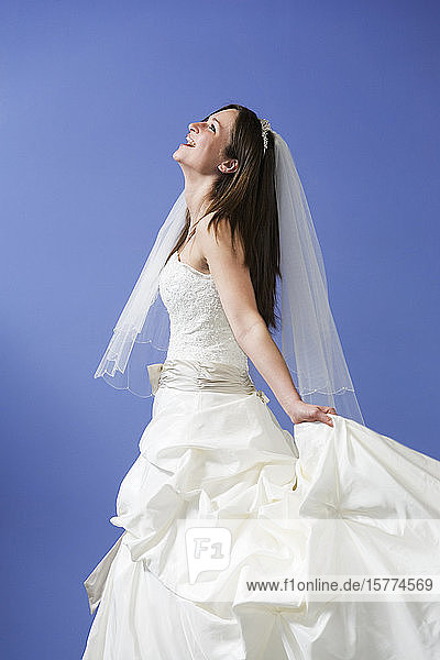 View of cheerful bride.