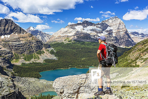 Male hiker on rocky ridge overlooking blue alpine lake and mountain ranges in the distance with blue sky and clouds  Yoho National Park; Field  British Columbia  Canada
