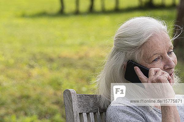 Senior woman talking on smart phone