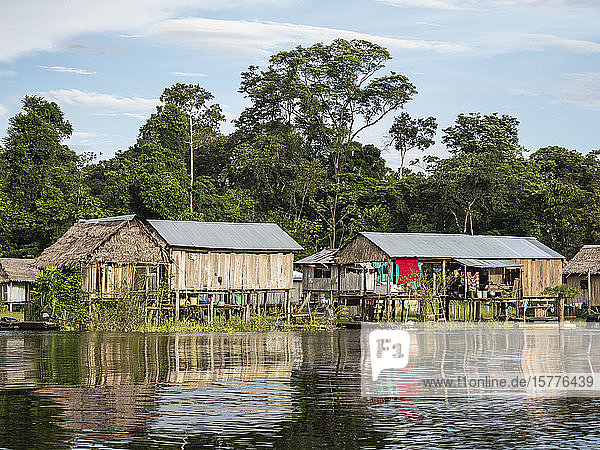 A small fishing community on Rio El Dorado  Amazon Basin  Loreto  Peru  South America