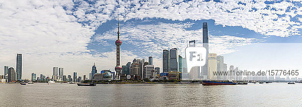 View of Pudong Skyline and Huangpu River from the Bund  Shanghai  China  Asia