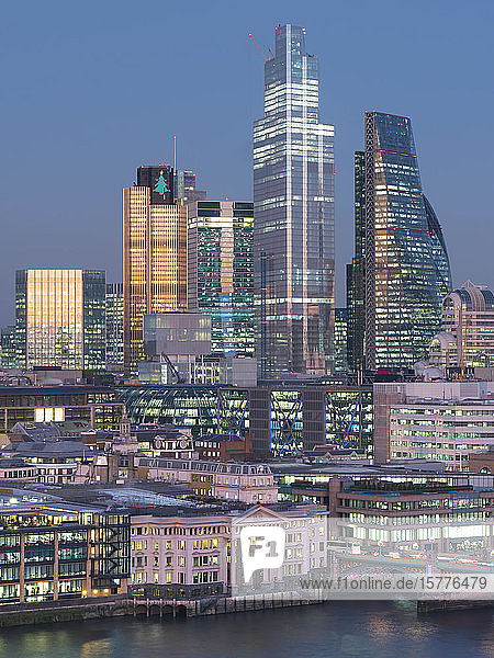 City of London  Square Mile  image shows completed 22 Bishopsgate tower  London  England  United Kingdom  Europe