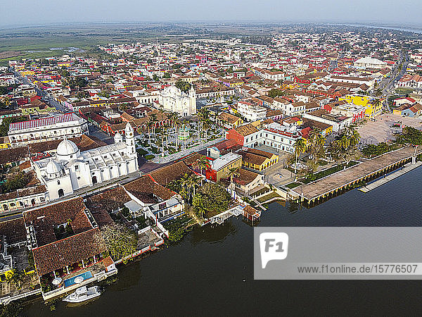 Aerial by drone of Tlacotalpan  UNESCO World Heritage Site  Veracruz  Mexico  North America