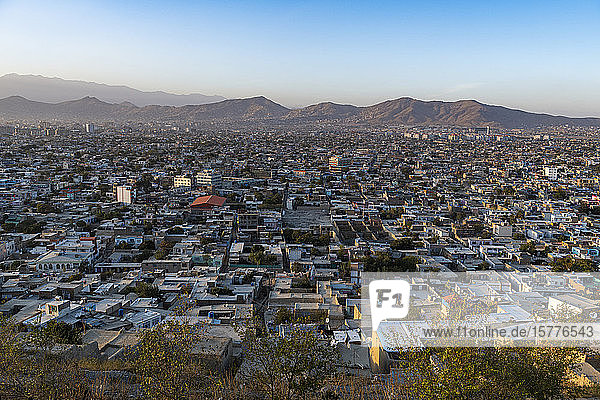 View over Kabul at sunset  Afghanistan  Asia