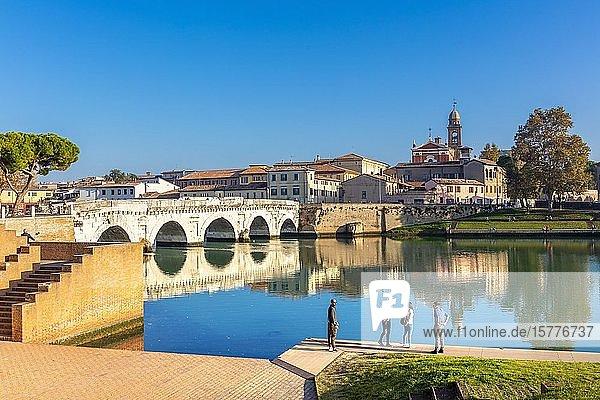 The Bridge of Tiberius  Rimini  Emilia Romagna  Italy  Europe