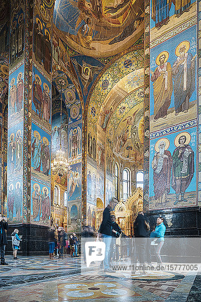 Interior of Church of the Savior on Spilled Blood (Church of the Resurrection)  UNESCO World Heritage Site  St. Petersburg  Leningrad Oblast  Russia  Europe
