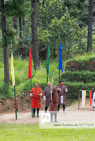 Men compete in an archery competition  Bhutan's national sport  Bhutan  Asia