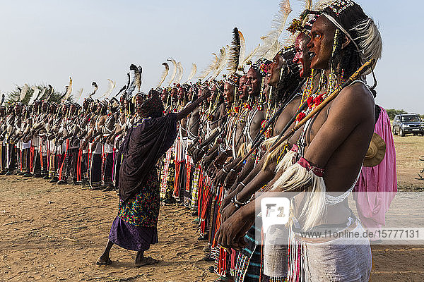 Gerewol festival  courtship ritual competition among the Wodaabe Fula people  Niger  West Africa  Africa