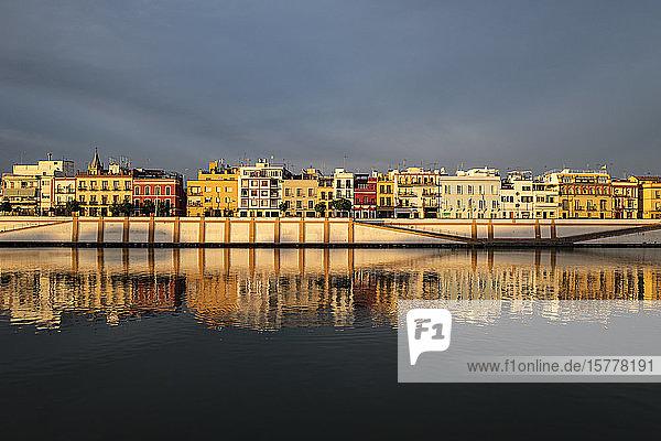 City skyline with Guadalquivir river in Seville  Spain