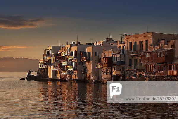 Buildings on waterfront in Mykonos  Greece