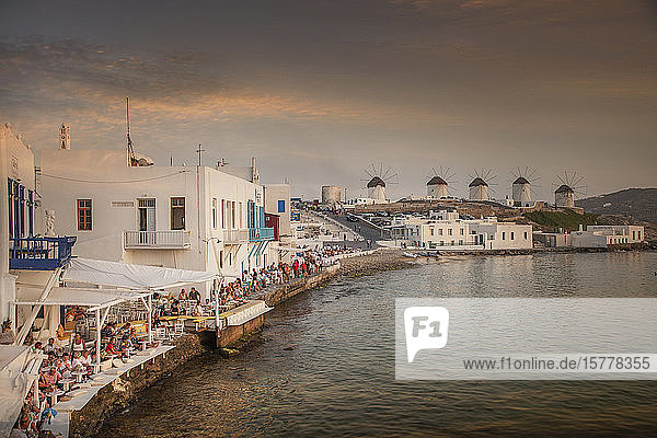 Restaurants on waterfront in Mykonos  Greece