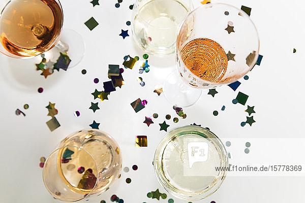 Confetti and alcohol in glasses