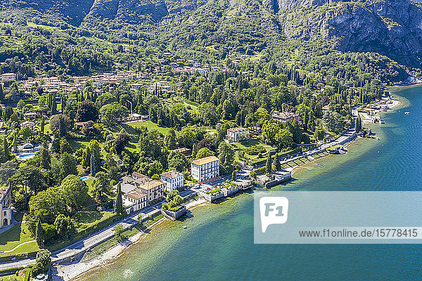 Buildings on peninsula by Lake Como in Lombardy  Italy
