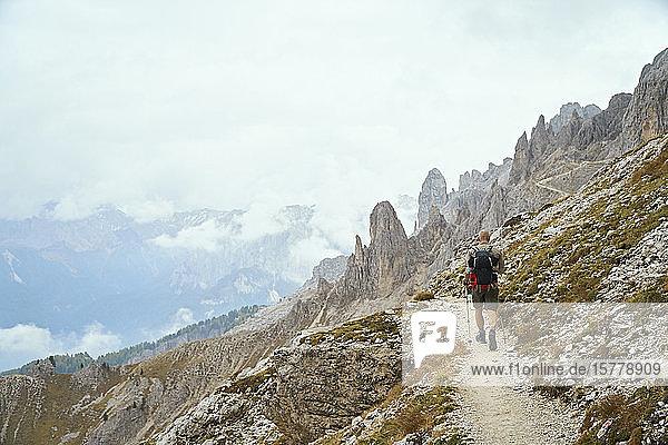 Wanderer auf Feldweg am Berghang  Canazei  Trentino-Südtirol  Italien