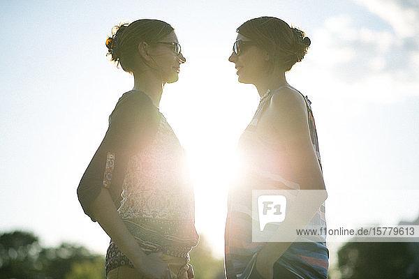 Zwillingsschwestern bei Sonnenuntergang im Park