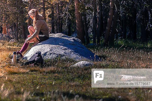 Junge Wanderin sitzt auf einem Felsen und macht eine Pause in Tuolumne Meadows  oberer Teil des Yosemite Nationalparks  Kalifornien  USA